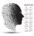2019 calendar with a man made of musical notes vector image vector image