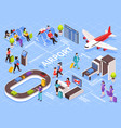 airport isometric flowchart composition vector image vector image