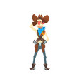 armed cowboy in traditional clothes western vector image vector image