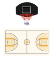 Basketball court and black hoop vector image vector image