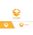 box and post logo combination package and vector image