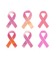 Cancer pink ribbons set vector image
