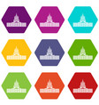 capitol icon set color hexahedron vector image vector image