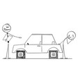 car salesman selling with problem to customer vector image