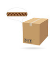 cardboard box mockup isolated on white background vector image vector image
