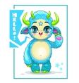 Cartoon cute blue monster vector image