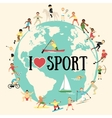 Cartoon map with sportsmen vector image vector image