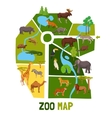 Cartoon Zoo Map With Animals vector image vector image