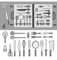 chef kit on table line monochrome vector image