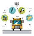 color poster of back to school with school bus in vector image vector image