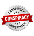 conspiracy 3d silver badge with red ribbon vector image vector image
