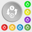 Currency exchange icon sign Symbol on eight flat vector image