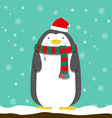 cute big fat penguin wear christmas hat and scarf vector image
