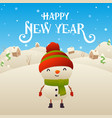 cute cartoon snowman character happy new year vector image vector image