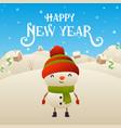 cute cartoon snowman character happy new year vector image