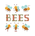 Cute colorfulbee characters set vector image vector image