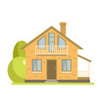 cute cottage brick house with balcony and attic vector image vector image