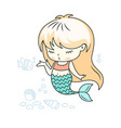cute little mermaid giving a kiss with a fish vector image vector image