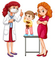 Doctor and crying girl vector image vector image