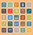 engineering line flat icons on orange background vector image