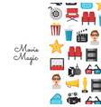 flat cinema icons background on white vector image