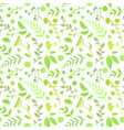 floral seamless pattern round shape with green vector image vector image