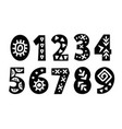 hand drawn folk tribal numbers set vector image