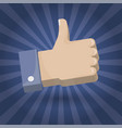 hand thumb up icon 3d colorful sign symbol vector image