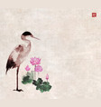 heron and pink lotus flowers on vintage background vector image