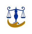 law justice firm hand balance logo design icon vector image vector image