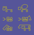 Linear construction truck icon set vector image vector image