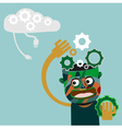 man with gears on head innovation concept vector image vector image
