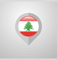 map navigation pointer with lebanon flag design vector image
