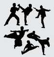 martial art fighting people silhouette vector image vector image