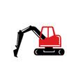 mechanical excavator digger retro icon vector image