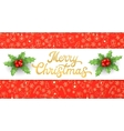 Merry Christmas Gold Xmas lettering with holly vector image vector image