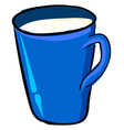 milk in blue cup on white background vector image vector image