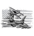 monochromatic military plane fired a missile vector image