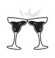 pair of wine glasses vector image vector image