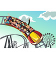 people riding roller coaster vector image