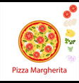 pizza magherita flat icon isolated on white vector image