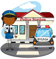 Police officer working at police station vector image vector image