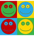 Pop art smile face icons vector image