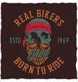 real bikers poster vector image vector image