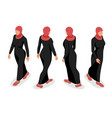 set of business arab woman character with hijab vector image vector image