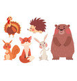 set of cute wild animals vector image