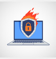 shield icon with a lock on a laptop screen vector image vector image