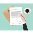 sign contract on paper document vector image