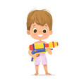 smiling cute brown hair baboy with a toy water vector image vector image