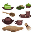 tea ceremony equipment set tea time symbols and vector image vector image